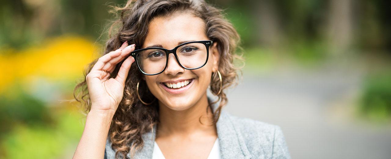 female wearing eyeglasses